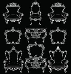 Exquisite fabulous imperial baroque furniture set vector