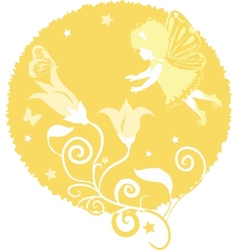 fairy little girl silhouette vector image