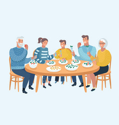 family meal father mother son and daughter vector image