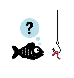 Fish does not know if there is a worm or not vector