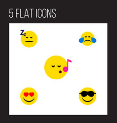 flat icon gesture set of happy cold sweat love vector image