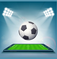 Football field on the smartphone screen vector