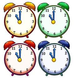 Four colourful clocks vector
