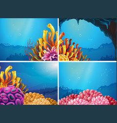 four scenes under the ocean vector image