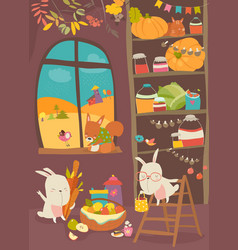 funny rabbits and squirrel with harvest in home vector image