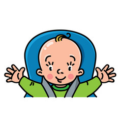 Funny small baby in the car seat with open arms vector