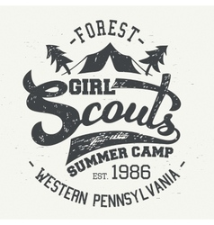 Girl Scouts summer camp t-shirt typographic design vector image