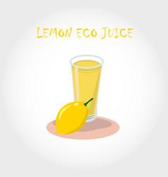 glass of bio fresh lemon juice vector image