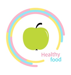 Green apple abstract round frame Diet concept vector image
