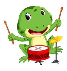Green frog playing drum vector