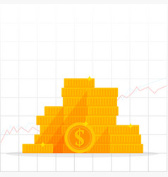 growing chart with golden dollar coin business vector image