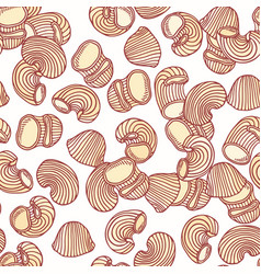 Hand drawn pasta pipe rigate seamless pattern vector