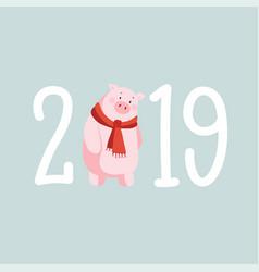 happy new year 2019 greeting card invitation vector image
