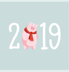 happy new year 2019 greeting card invitation with vector image