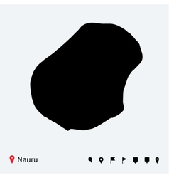 High detailed map of Nauru with navigation pins vector image
