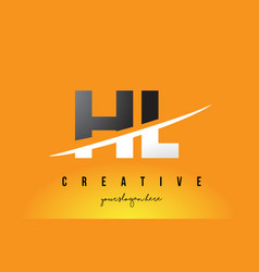 Hl h l letter modern logo design with yellow vector