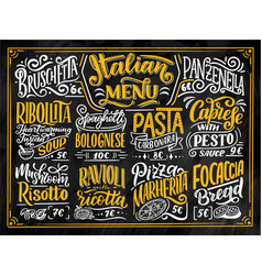 Italian food menu - names of dishes lettering vector