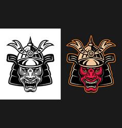 japanese demon samurai in helmet vector image