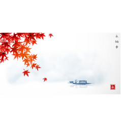Japanese maple leaves and fishing boat in calm vector