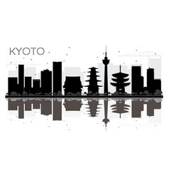 Kyoto city skyline black and white silhouette vector