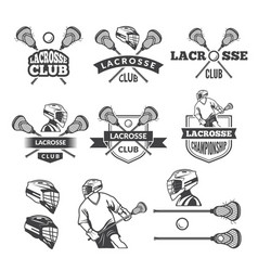 Labels of lacrosse club monochrome vector