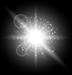 Light circle with stardust white color vector
