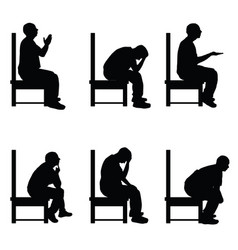 man silhouette sitting on chair in various poses vector image