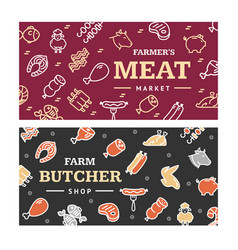 meat butchery banner horizontal set vector image