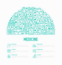 Medicine concept in half circle vector