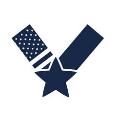 memorial day star flag ribbon american celebration vector image