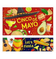 mexican cinco de mayo fiesta sombrero guitar vector image