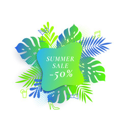 Monstera palm tropical leaves summer sale card vector