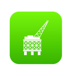 oil platform icon digital green vector image
