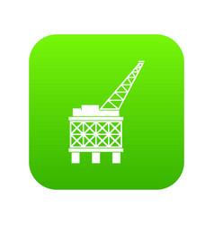 Oil platform icon digital green vector