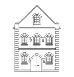 Old european house flat outline drawing vector