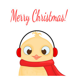 Owl in the santa claus hat headphones and scarf vector