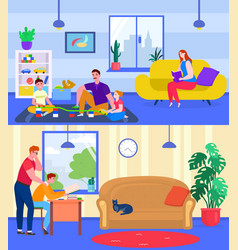 parents play and study with children vector image