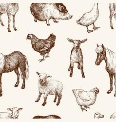 Pattern farm animals vector