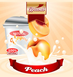 peach yogurt ads splashing scene with package and vector image