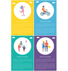 people in park resting cartoon poster set vector image