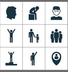 Person icons set with depression rejoicing pupil vector