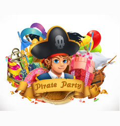 Pirate party children holiday 3d emblem vector
