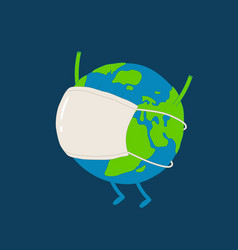 planet earth wearing a medical mask vector image