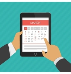 Planning calendar in tablet vector
