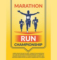 Poster for sport club marathon runners vector