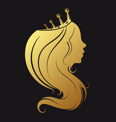 profile a girl with a golden crown vector image
