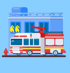 red fire truck or fire engine flat vector image vector image