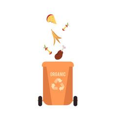 rubbish orange bin with organic falling waste and vector image