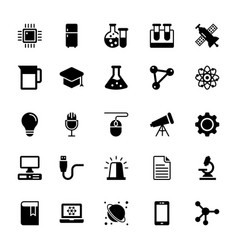 Science and technology glyph icons 3 vector