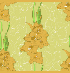 Seamless pattern from yellow gladiolus vector